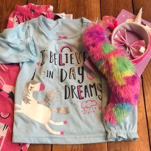 Carters girls 3t unicorn pajamas & accessory kit